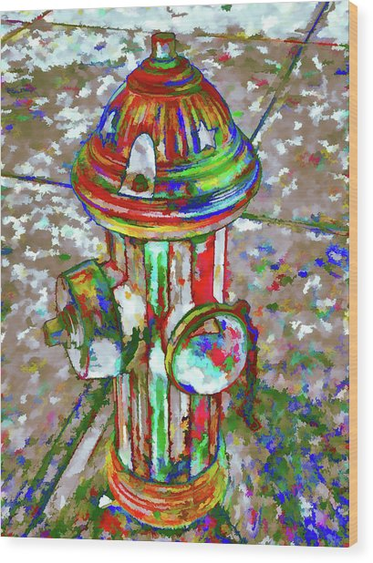 Colourful Hydrant Wood Print