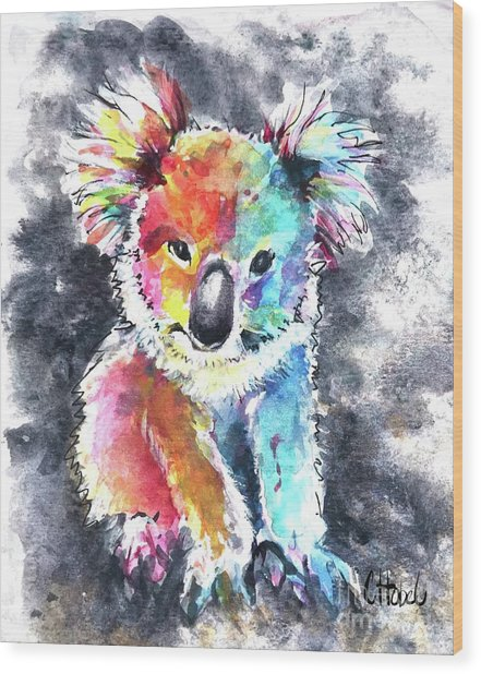 Colourful Koala Wood Print