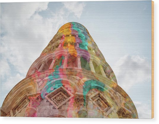 Wood Print featuring the mixed media Colourful Leaning Tower Of Pisa by Clare Bambers