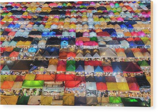 Colourful Night Market Wood Print