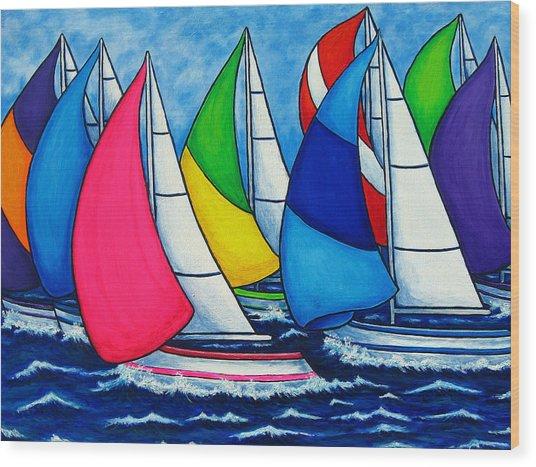 Colourful Regatta Wood Print