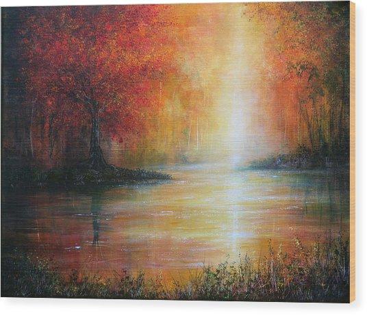 Colours Of Autumn Wood Print by Ann Marie Bone