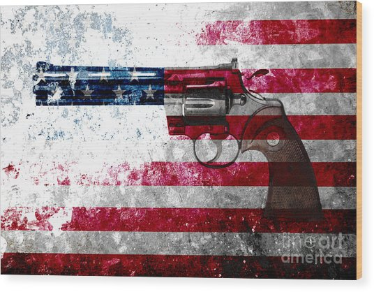Colt Python 357 Mag On American Flag Wood Print