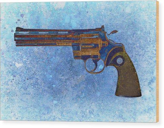 Colt Python 357 Mag On Blue Background. Wood Print