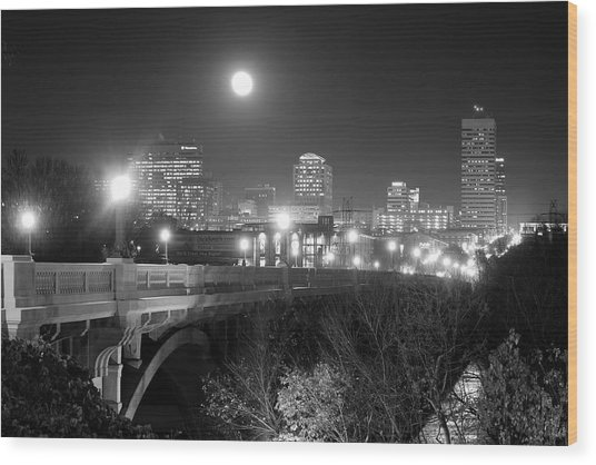 Columbia Skyline At Night Wood Print