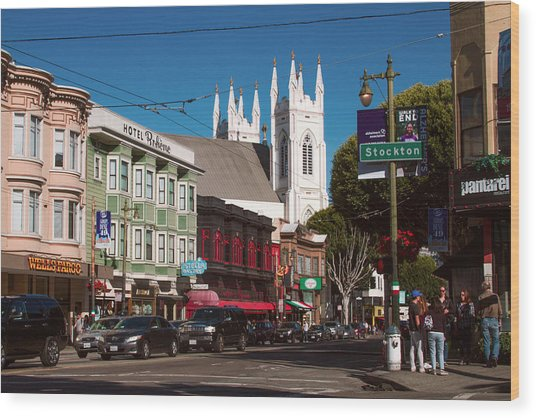 Columbus And Stockton In North Beach Wood Print
