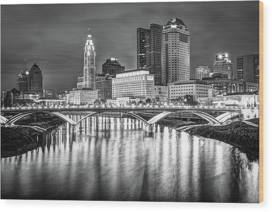 Columbus Ohio Downtown Skyline In Black And White Wood Print