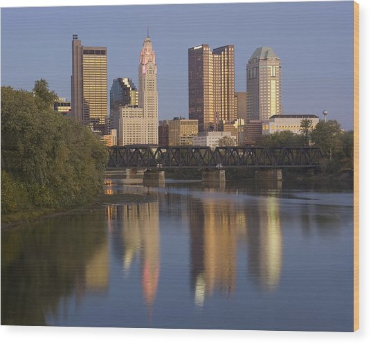 Columbus Ohio Evening Wood Print