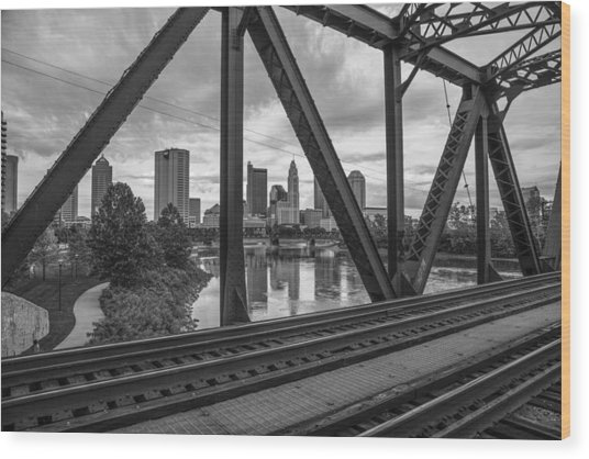 Columbus Train Tracks  Wood Print