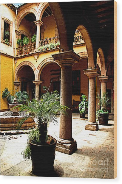 Columns And Courtyard Wood Print