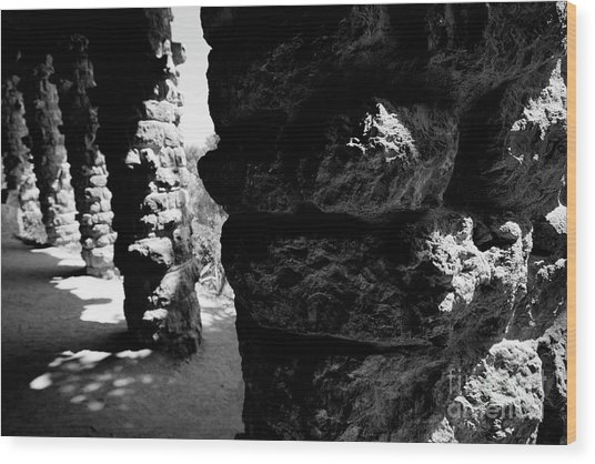 Columns Of The Park Guell Wood Print