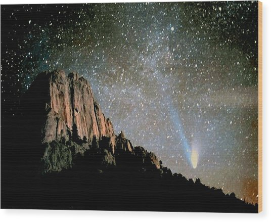 Comet Hale-bopp Wood Print
