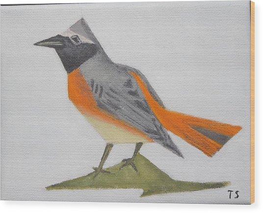 Common Redstart Wood Print