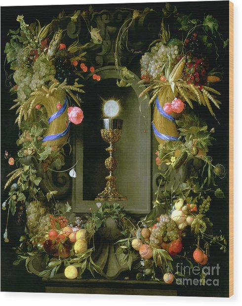 Communion Cup And Host Encircled With A Garland Of Fruit Wood Print