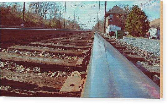 Commuter Train Tracks, Downingtown, Pa. Wood Print
