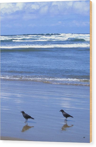 Companion Crows Wood Print