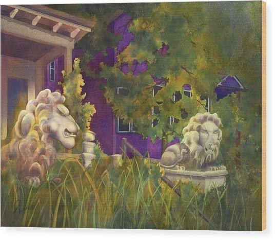Complaining Lions Wood Print