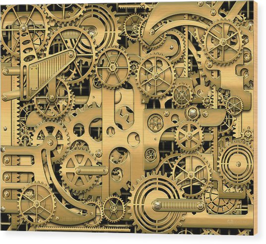 Complexity And Complications - Clockwork Gold Wood Print