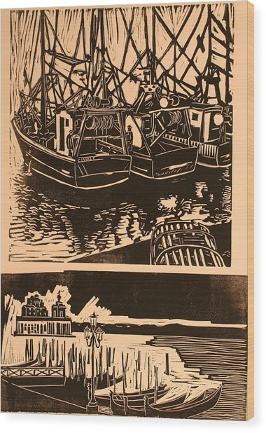 Composite Of Two Woodcuts Wood Print by Biagio Civale