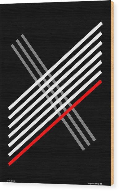 Composition Cris Cross Wood Print by Asbjorn Lonvig