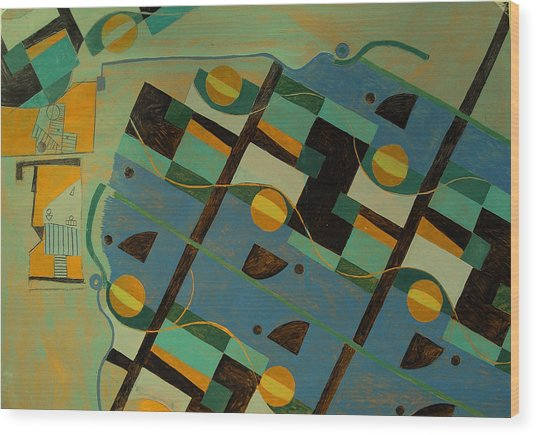 Composition Xxi 07 Wood Print by Maria Parmo