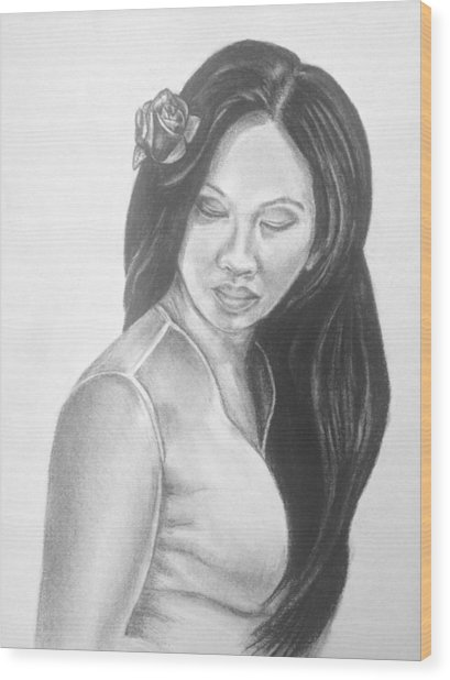 Long Hair Asian Lady With Rose In Sorrow Charcoal Drawing  Wood Print