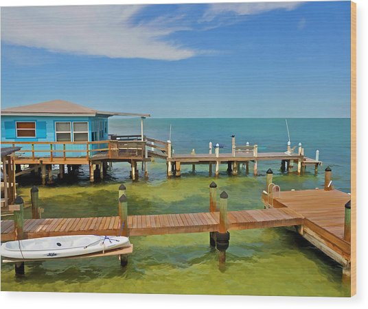 Conch Key Blue Cottage 3 Wood Print