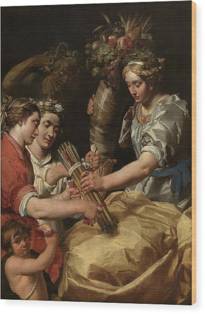 Concord, Charity And Sincerity Conquering Discord Wood Print