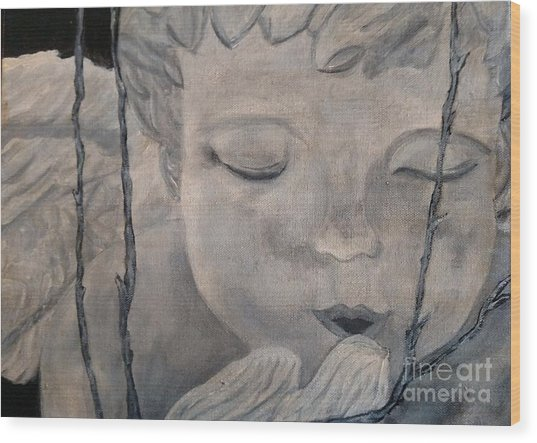 Concret Angel Wood Print