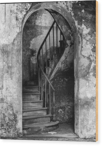 Concrete And Stairwell Wood Print