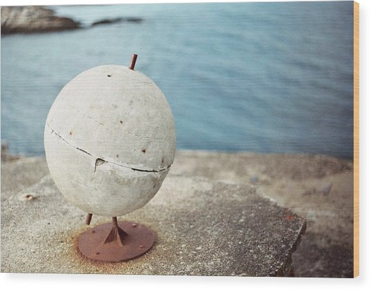 Concrete Globe Wood Print by Gregory Barger