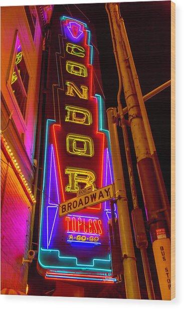 Condor Neon On Broadway Wood Print