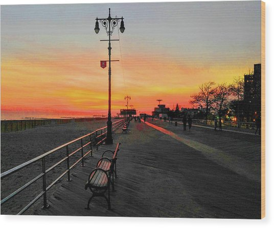 Coney Island Boardwalk Sunset Wood Print