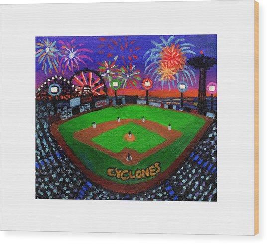 Coney Island Cyclones Fireworks Display Wood Print