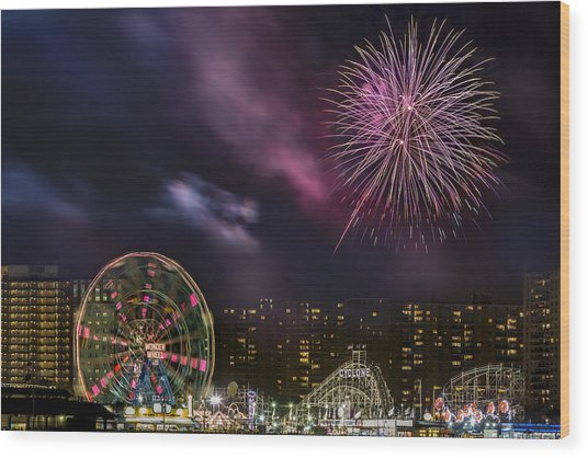 Coney Island Fireworks Wood Print