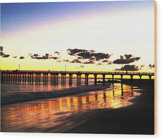 Coney Island Pier Sunset Wood Print
