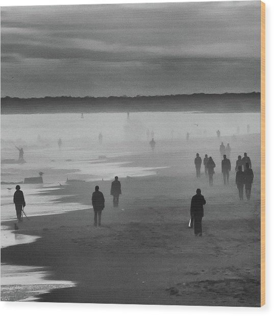 Coney Island Walkers Wood Print