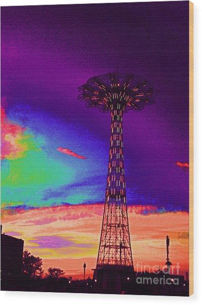 Coney Islands Parachute Jump Wood Print