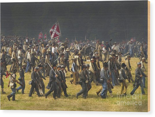 Confederate Charge At Gettysburg Wood Print