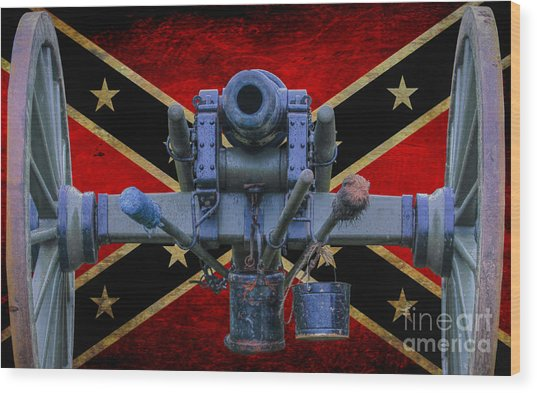 Confederate Flag And Cannon Wood Print