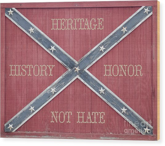 Confederate Flag On Wooden Door Wood Print