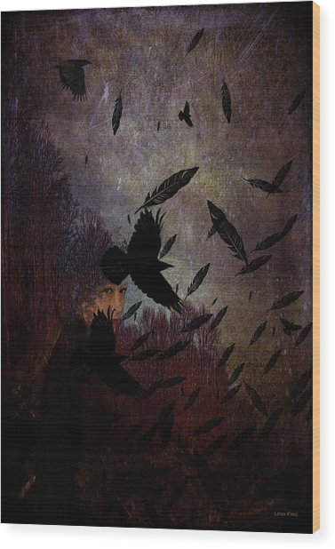 Conflict Of The Crows Wood Print