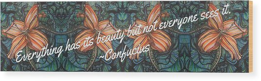 Confucius Beauty  Wood Print