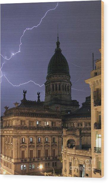 Congreso Lightning Wood Print by Balanced Art