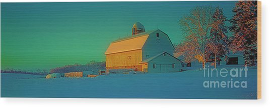 Conley Rd White Barn Wood Print