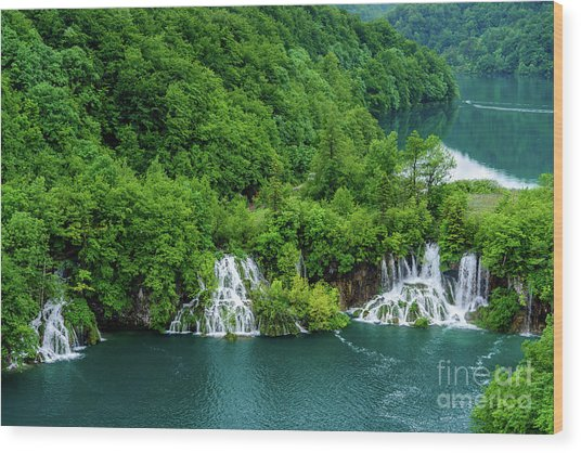 Connected By Waterfalls - Plitvice Lakes National Park, Croatia Wood Print