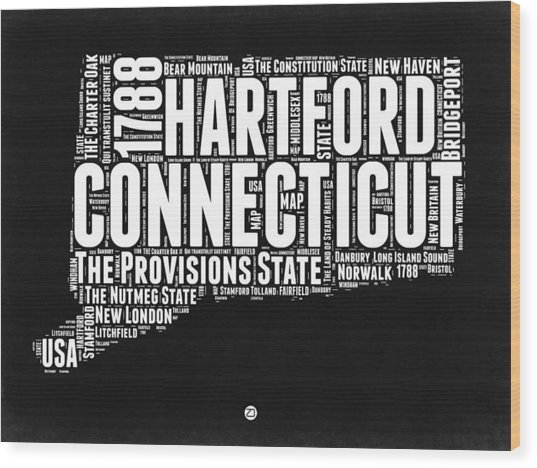 Connecticut Black And White Word Cloud Map Wood Print