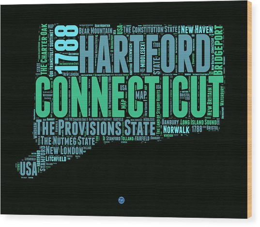 Connecticut Word Cloud Map 1 Wood Print