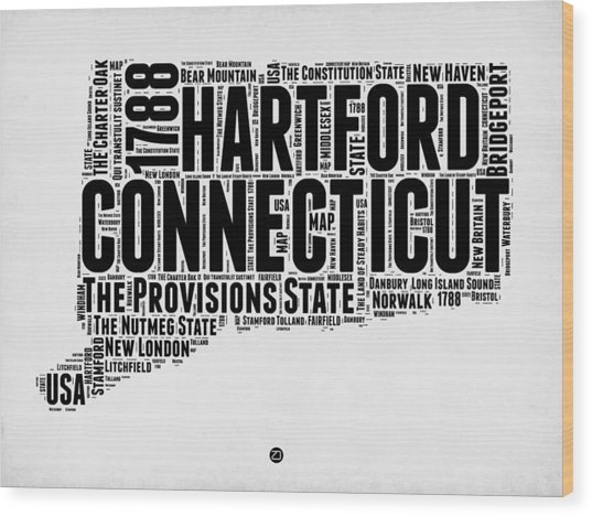 Connecticut Word Cloud Map 2 Wood Print