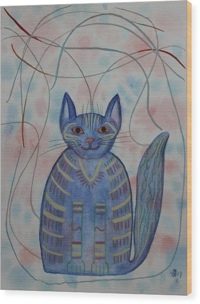 Connection Cat  Wood Print